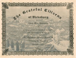 Certificate of gratitude from the Citizens of Vicksburg