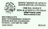 King and Queen's Luncheon Card 1985